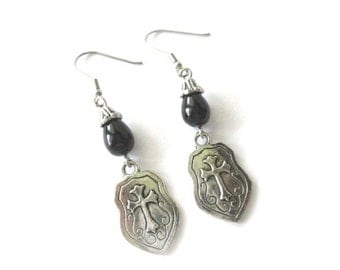 Shield earrings jewelry with black bead and fishhook ear wires antiqued silver shield dangle earrings medieval