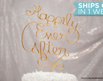 Happily Ever After Cake Topper / Romantic Cake Topper / Wire Cake Topper / Wedding Cake Topper / Cute Wedding / Romantic Wedding / 14 Colors