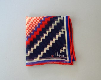 Vintage Vera Neumann Scarf - Red, White and Blues Grid