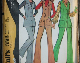 McCall 3313 1970s 70s V Neck Tunic Flared Pants Disco Vintage Sewing Pattern Size 10 Bust 32.5