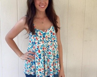 Floral Babydoll Summer Knit  Tank Top Custom and Handmade for you
