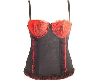 Vintage Red And Black Mesh Bustier Vest. U.K Bra Size 34/36 B/C Cup.