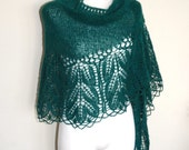 Emerald Hand Knit Lace Shawl, Knit Lace Wedding Shawl, Womens Hand Knitted Shawl, Hand Knit Lace Shawl in Green