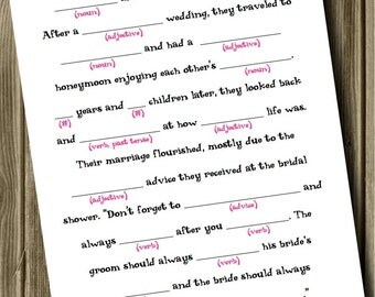 INSTANT DOWNLOAD Bridal Shower - Mad Lib Game and Guestbook (Casual). Keep these memories forever.