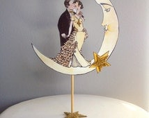 Art Deco Moon Cake Topper : Popular items for art deco cake topper on Etsy