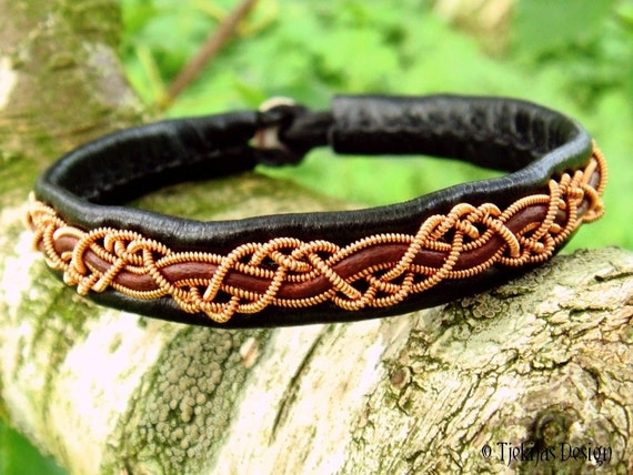 HUGINN Copper Viking Sami Bracelet in Black and Antique Brown Leather with Reindeer Antler Button - Custom Handmade to Your Size and Color.