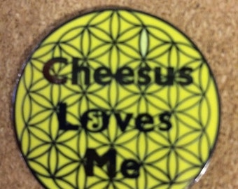 Cheesus Loves Me String Cheese Incident Hat Pin