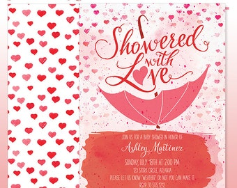 Watercolor Baby Shower Invitation - DIY Print - Showered with Love Baby Girl Umbrella Invitation - Made to Order - Printed Invitations