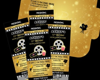 Printable Movie Night Party Ticket Invitations Personalized Custom
