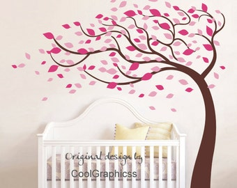 tree wall decal vinyl wall sticker baby nursery wall decal girl bedroom children wall decor wall mural - Blowing Leaves Tree decal