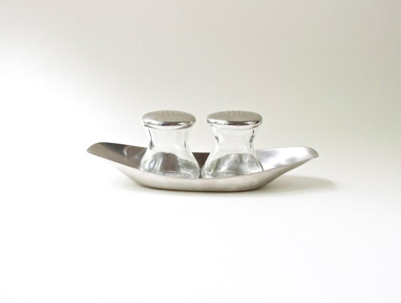 Vintage WMF Germany Stainless Steel Glass Salt Pepper Set // Sunday Brunch