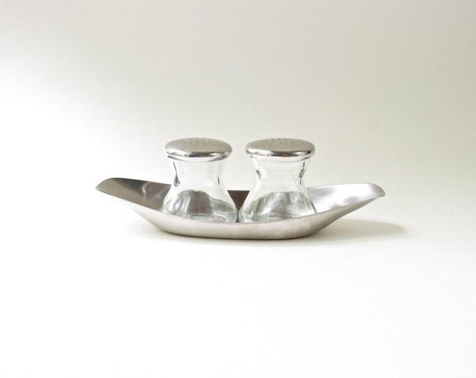 Vintage WMF Germany Stainless Steel Glass Salt Pepper Set // Sunday Brunch