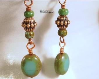 Elegant Statement Earrings, Copper Beads, Czech Glass Beads, Beaded Pierced Or Clip-On Earrings. OOAK Handmade Earrings. CKDesaigns.US