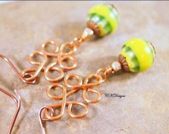 SALE Chevron Statement Earrings, Copper Chandelier, Chevron Glass Beads, Beaded Pierced Earrings. OOAK Handmade Earrings. CKDesaigns.US