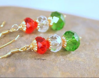 Christmas Beaded Earrings, Red, Green and Gold Christmas Beaded Dangle Pierced Earrings. OOAK Handnade Earrings, CKDesigns.us