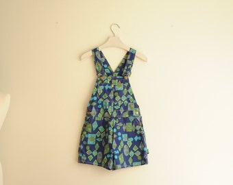 Vintage Blue & Green Geometric Form Pattern, Overalls Shorts Union Made by Big Smith, size XS