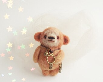 Shy Peachy Bear with  Key and locket, Felted Animal Brooch, Bear Jewelry