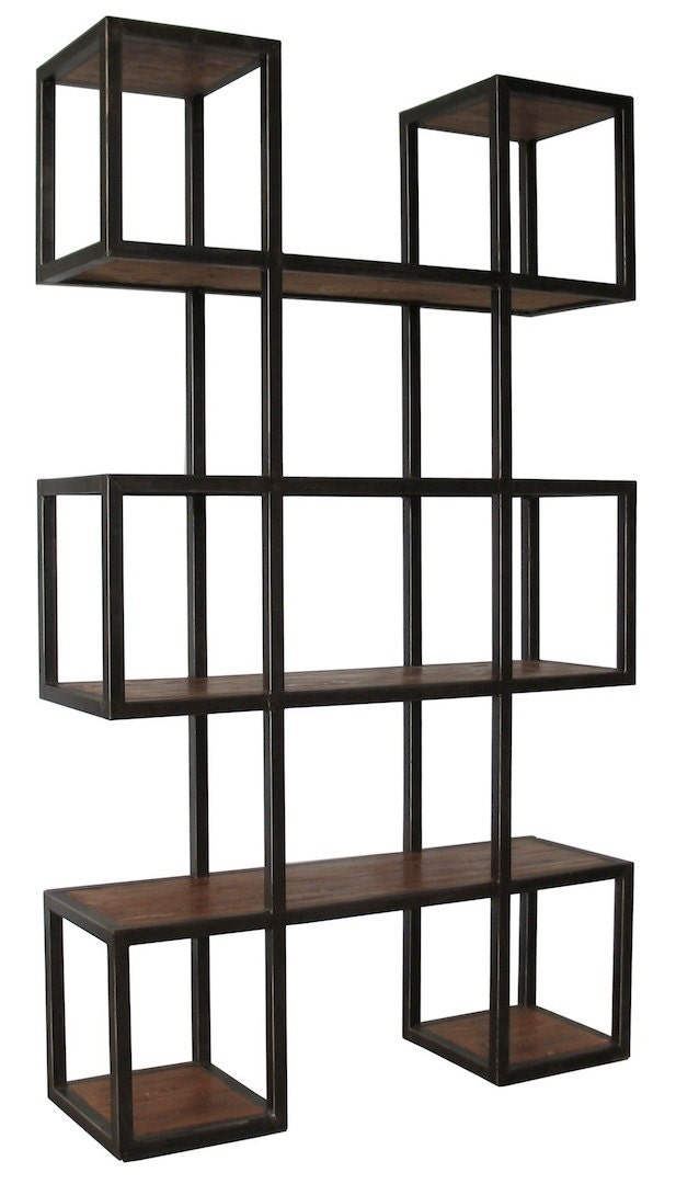 geometric metal modern bookcase by MortiseandTenon on Etsy