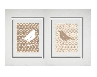 Bird Prints, Pair of Bird Silhouettes, Bird Artwork, Lattice background,
