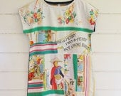 Upcycled Linen Tea Towel Patchwork Tunic Dress Mini Denim White Floral Collage Red Green Easter Wearable Art Size S