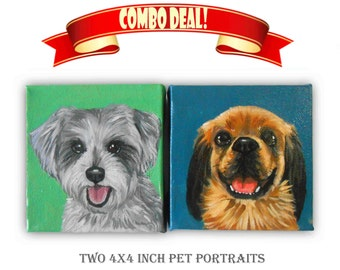 Set of Two 4x4x1.5 inch Custom Dog Portrait Custom Pet Portrait - 1 to 2 Pets - Close-Up Solid background