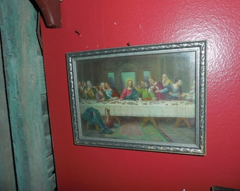 Vintage Framed Jesus The Last Supper Print 5 x 7 inches