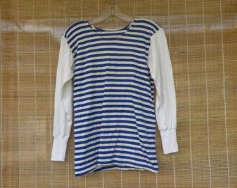 Vintage1970's Original Navy Sailor Blue and White Stripes Long Sleeve T - Shirt Size XS