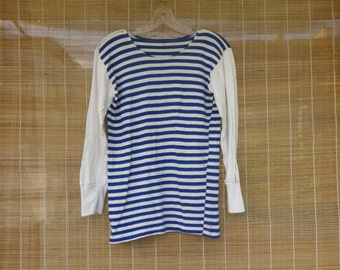 Vintage Original Navy Sailor Blue and White Stripes Long Sleeve T - Shirt Size XS With Small Damages