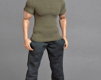 1/6th scale green XXL T-shirt for: Hot Toys TTM 20 size bigger action figures and male fashion dolls
