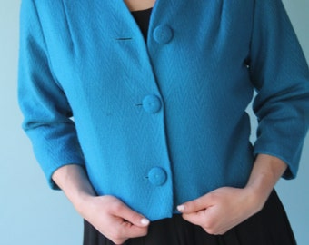 Dark Teal Cropped Jacket Three Quarter Sleeves Super Cute Fabric Buttons