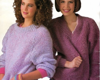 Instant Download PDF Vintage Eighties Fast and Fun Pullover Sweaters Knitting Pattern