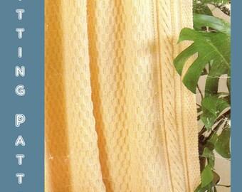 Instant Download PDF Vintage Seventies Aran Afghan Knitting Pattern