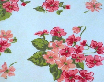 """Vintage Fabric -Bright Pink Blossoms - 36""""L x 44""""W - 1950's - material - textile - sewing supply - Retro"""