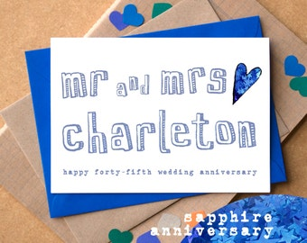 Forty Fifth Anniversary Card - Sapphire Anniversary Card - Personalised Mr and Mrs Anniversary Card - 45th Wedding Card - Mum and Dad Card