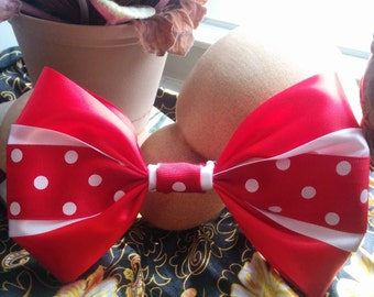 Red & White Polka Dot Bow. Polka Dot Hair Bow. Red Hair Bow. White Hair Bow. Minnie Mouse Hair Bow. Cute Hair Bow. Handmade Hair Bow.