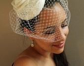 White Bridal Fascinator - Bridal Hat - Wedding Headpiece - Birdcage Veil