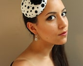 Pin-Up Style, Black and White Polka Dot, Felt Fascinator Cocktail Hat - Womens Headpiece