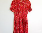 Vtg Shelton Stroller brand Groovy red womens dress size 16