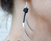 Leather and Sterling Silver Earrings - Leather Jewelry Collection