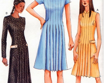 UNCUT Vogue Pattern 7228 - Misses Easy, Fitted, A-Line Dress with Front & Back Pleats - 14-18