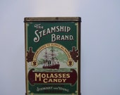 Vintage Steamship Molasses Candy Metal Tin