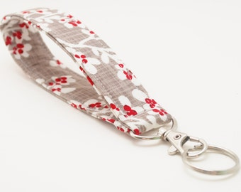 Wristlet Keychain, Fabric Key Fob With Snap, Winterberries