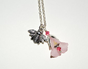Bee Necklace, Flower and Bee Pendant, Pink Flower Necklace, Insect Jewelry, Bee Charm Necklace, Silver Bee Charm, Light Pink Flower Jewelry