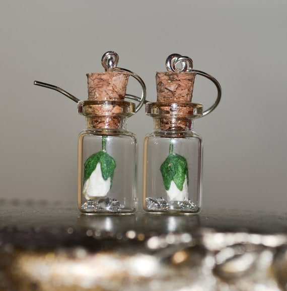 Bottle Earrings - White Rose