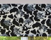 Valance. Kitchen Valance . Black and White Horses . Wild West Design . Vintage Fabric . Handmade by Pretty Little Valances
