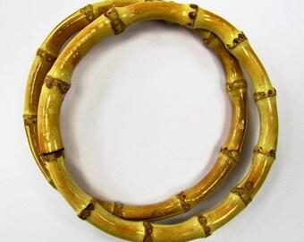 18cm / 7 inch natural bamboo circlular ring bag handles