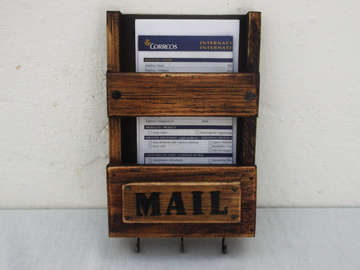 Rustic mail holder and key rack wooden wall mail box - Mail holder and key rack ...