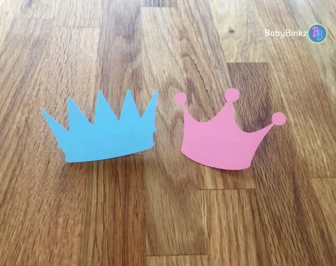 Party Pins: Prince or Princess Gender Reveal Party Baby Shower - Die Cut Pink Girl Tiara & Blue Boy Crowns vote game little party