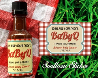 BabyQ Custom Barbecue Sauce Favors Personalized BBQ Labels & Empty 50 mL Bottles BabyQ Baby Shower Favors BBQ Cookout Baby Q Sauce SS-1030