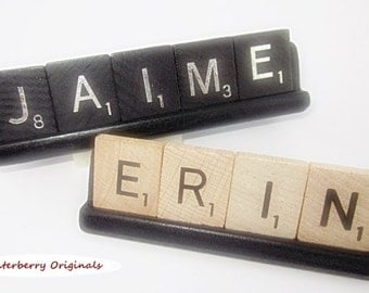 Personalized Scrabble Desk Sign - Black Base